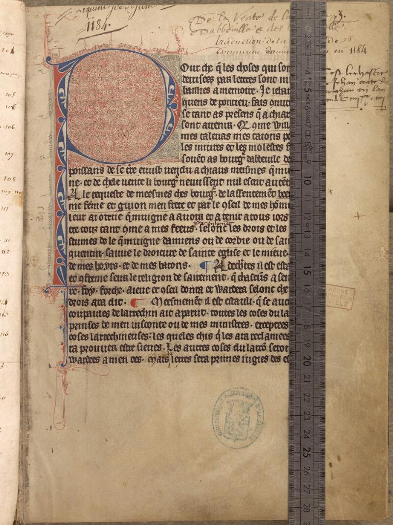 Abbeville, Bibl. mun., ms. 0114, f. 001 - vue 1