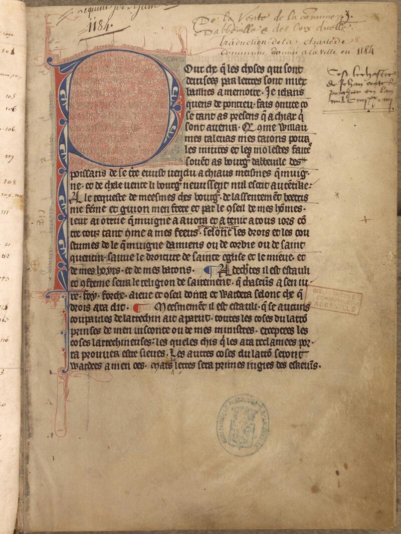 Abbeville, Bibl. mun., ms. 0114, f. 001 - vue 2