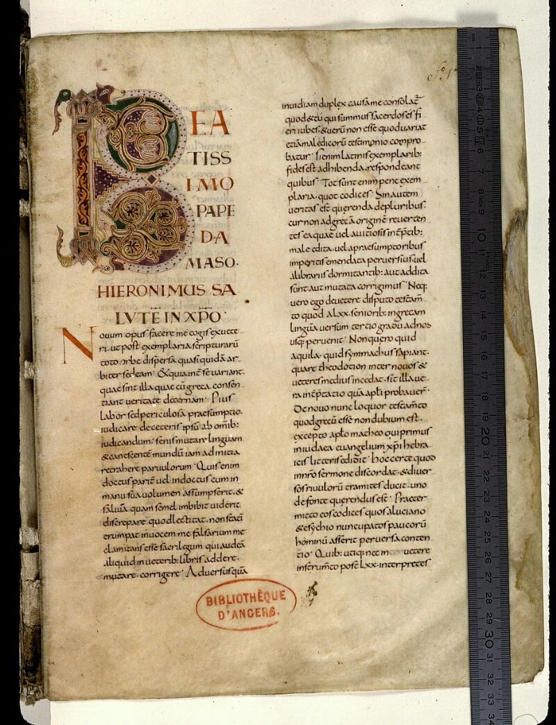 Angers, Bibl. mun., ms. 0021, f. 001 - vue 1