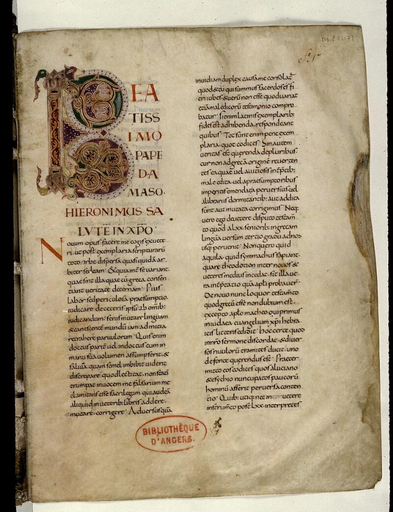 Angers, Bibl. mun., ms. 0021, f. 001 - vue 2
