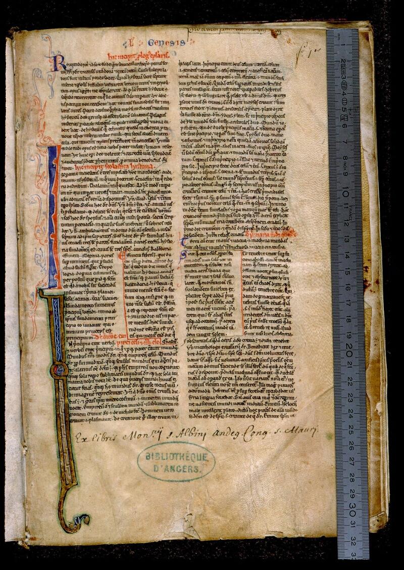 Angers, Bibl. mun., ms. 0026, f. 001 - vue 1