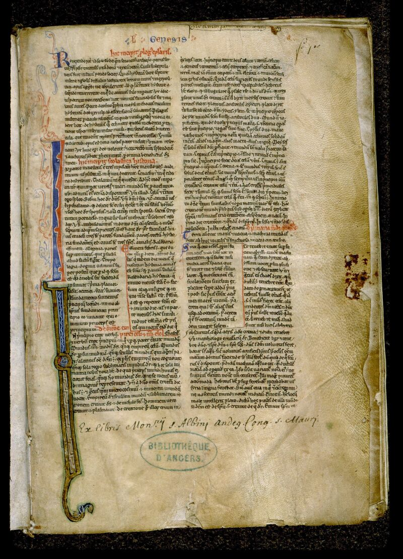 Angers, Bibl. mun., ms. 0026, f. 001 - vue 2