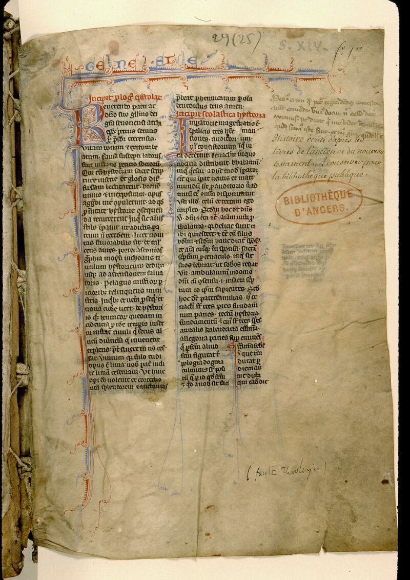Angers, Bibl. mun., ms. 0029, f. 001 - vue 2