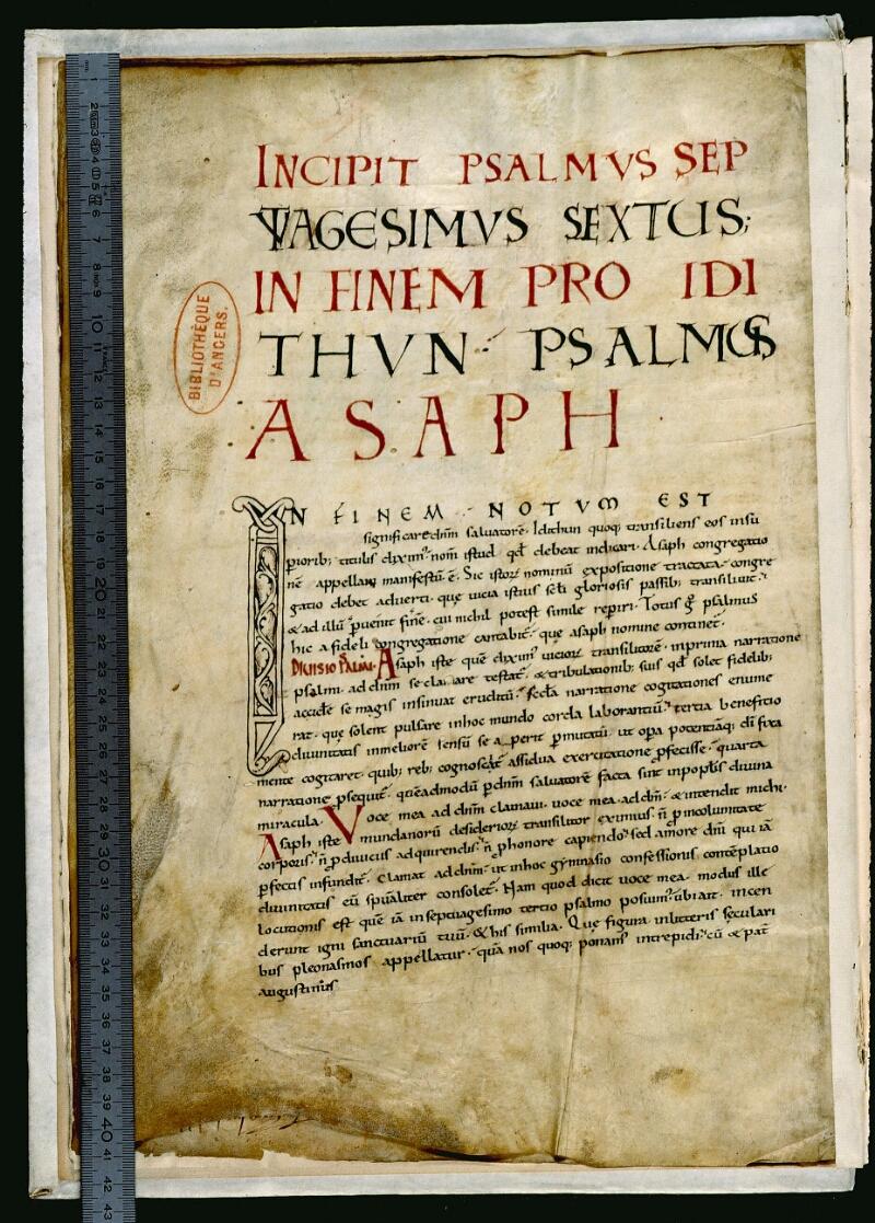 Angers, Bibl. mun., ms. 0044, f. 001v - vue 1