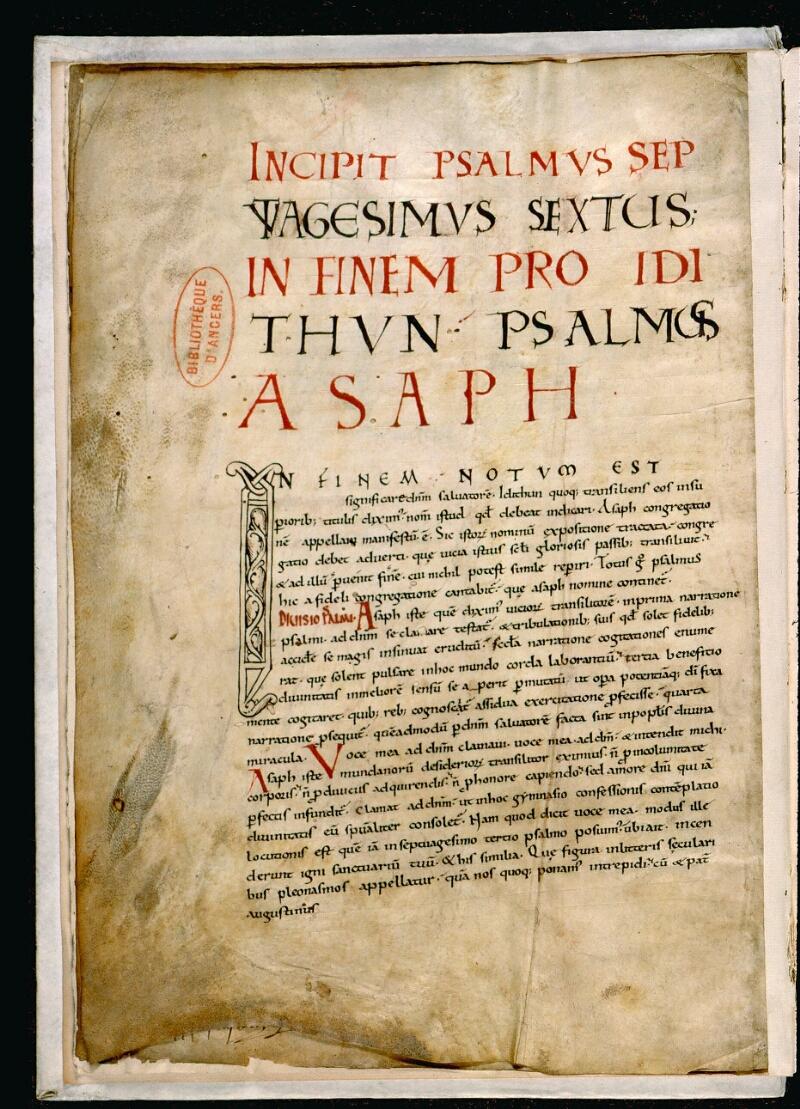 Angers, Bibl. mun., ms. 0044, f. 001v - vue 2