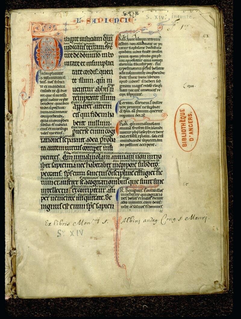 Angers, Bibl. mun., ms. 0052, f. 001 - vue 2