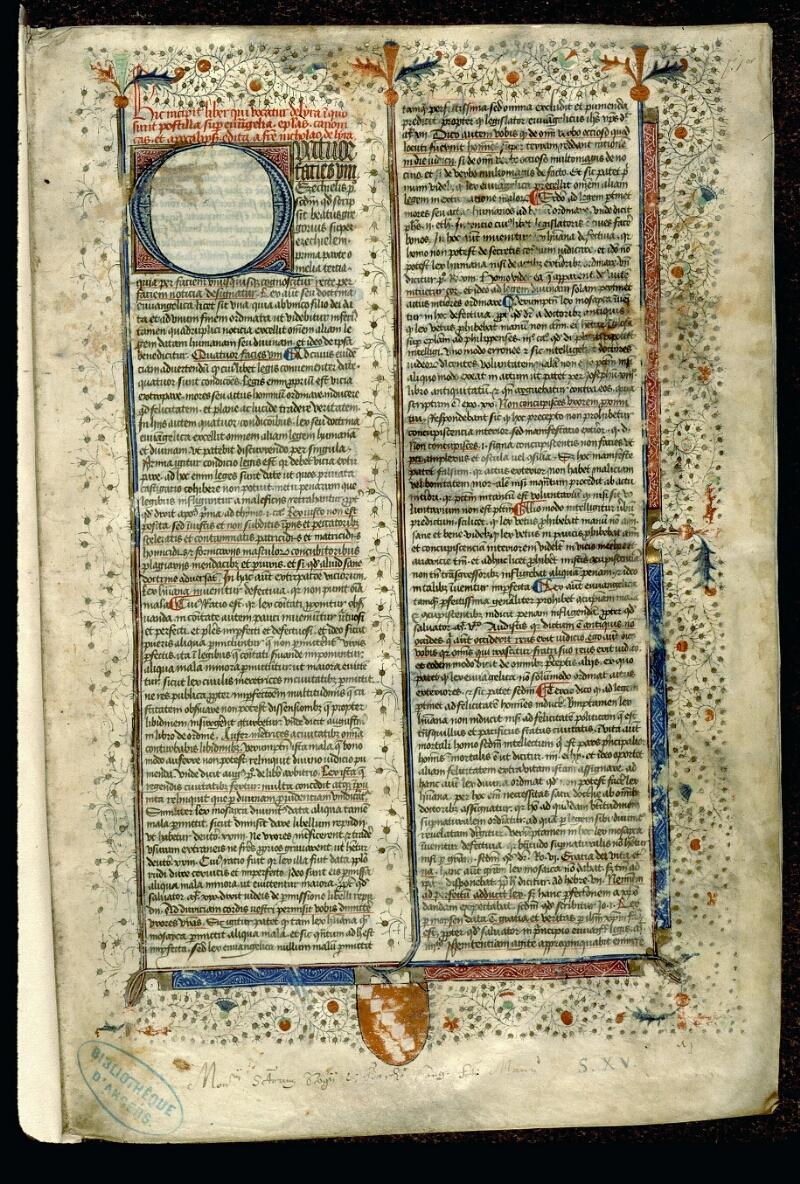 Angers, Bibl. mun., ms. 0057, f. 001 - vue 2