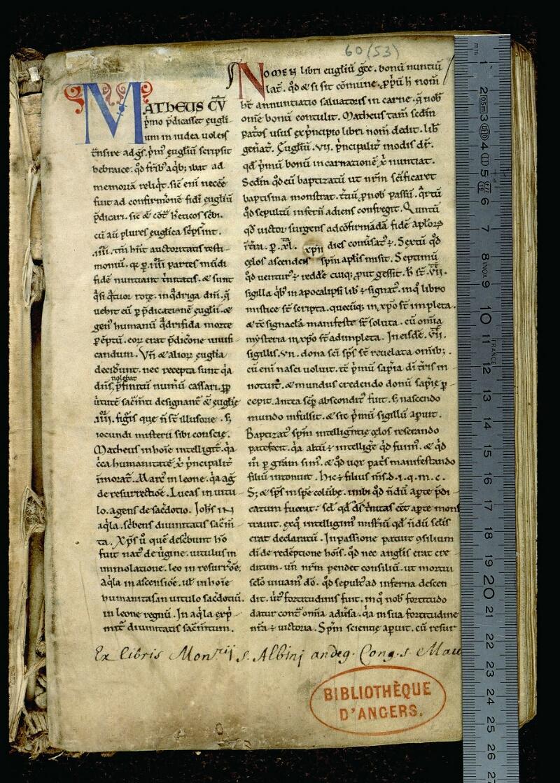 Angers, Bibl. mun., ms. 0060, f. 001 - vue 1