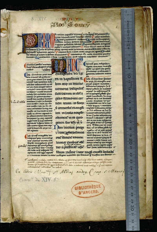 Angers, Bibl. mun., ms. 0061, f. 001 - vue 1