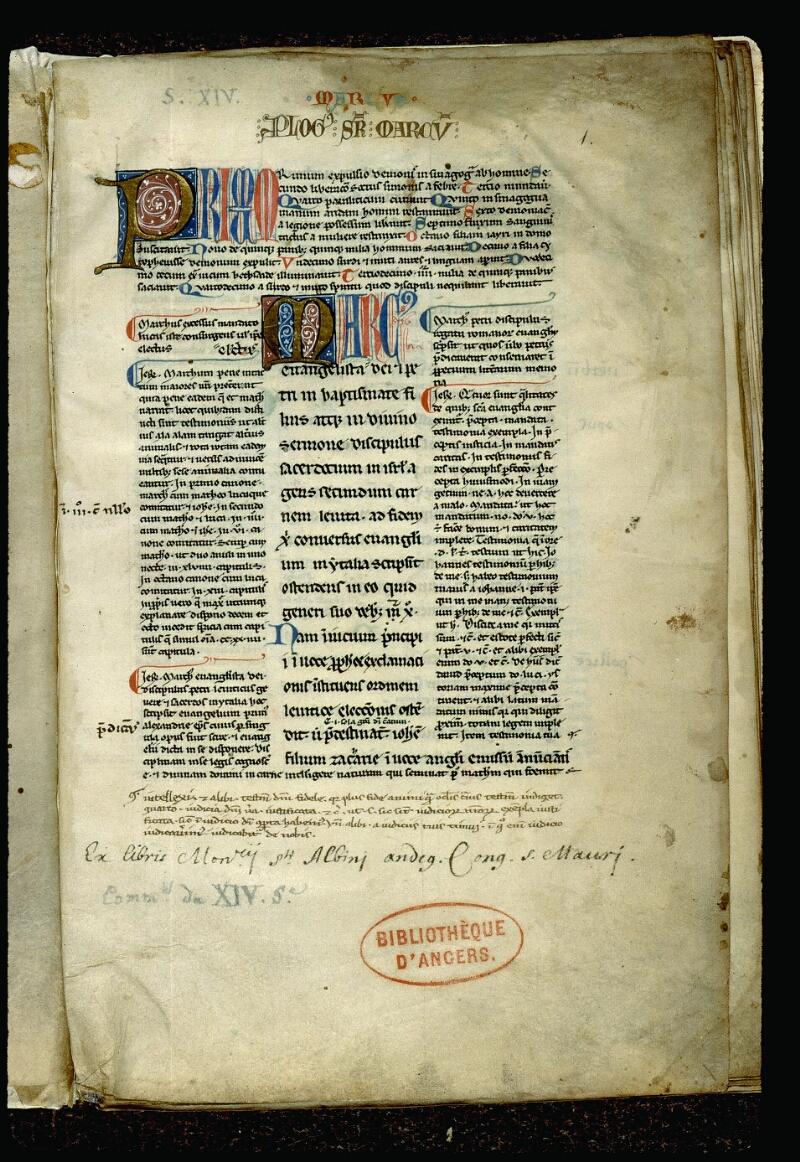 Angers, Bibl. mun., ms. 0061, f. 001 - vue 2