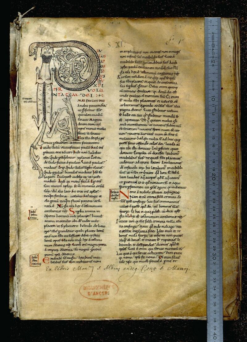 Angers, Bibl. mun., ms. 0066, f. 001 - vue 1