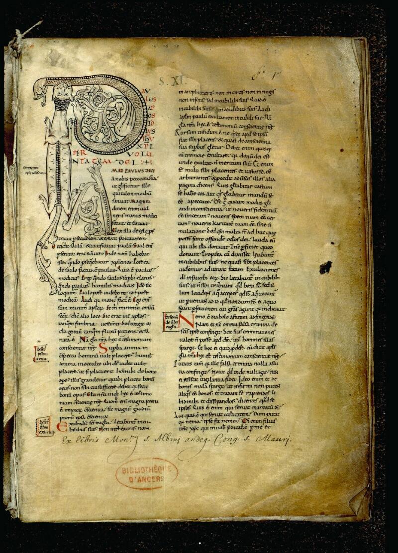 Angers, Bibl. mun., ms. 0066, f. 001 - vue 2