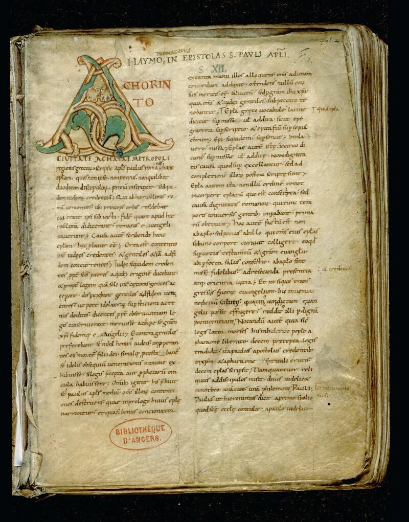 Angers, Bibl. mun., ms. 0067, f. 001 - vue 2