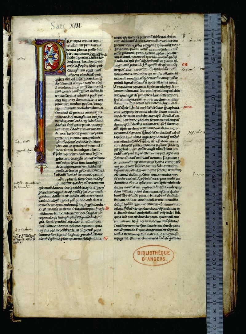 Angers, Bibl. mun., ms. 0069, f. 001 - vue 1