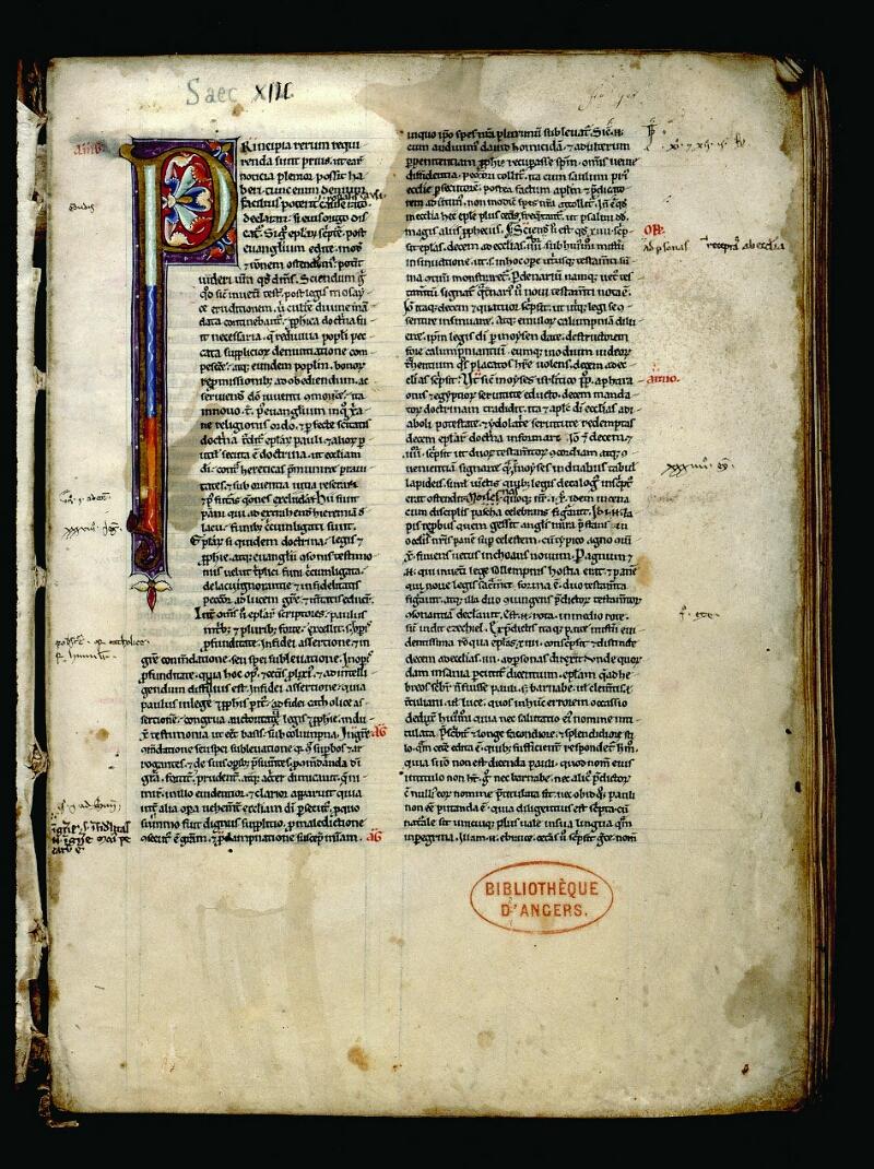 Angers, Bibl. mun., ms. 0069, f. 001 - vue 2