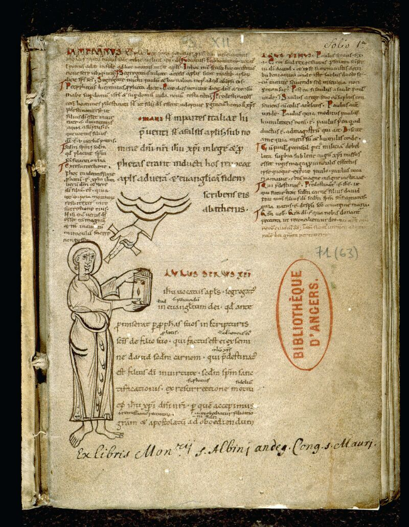Angers, Bibl. mun., ms. 0071, f. 001 - vue 2