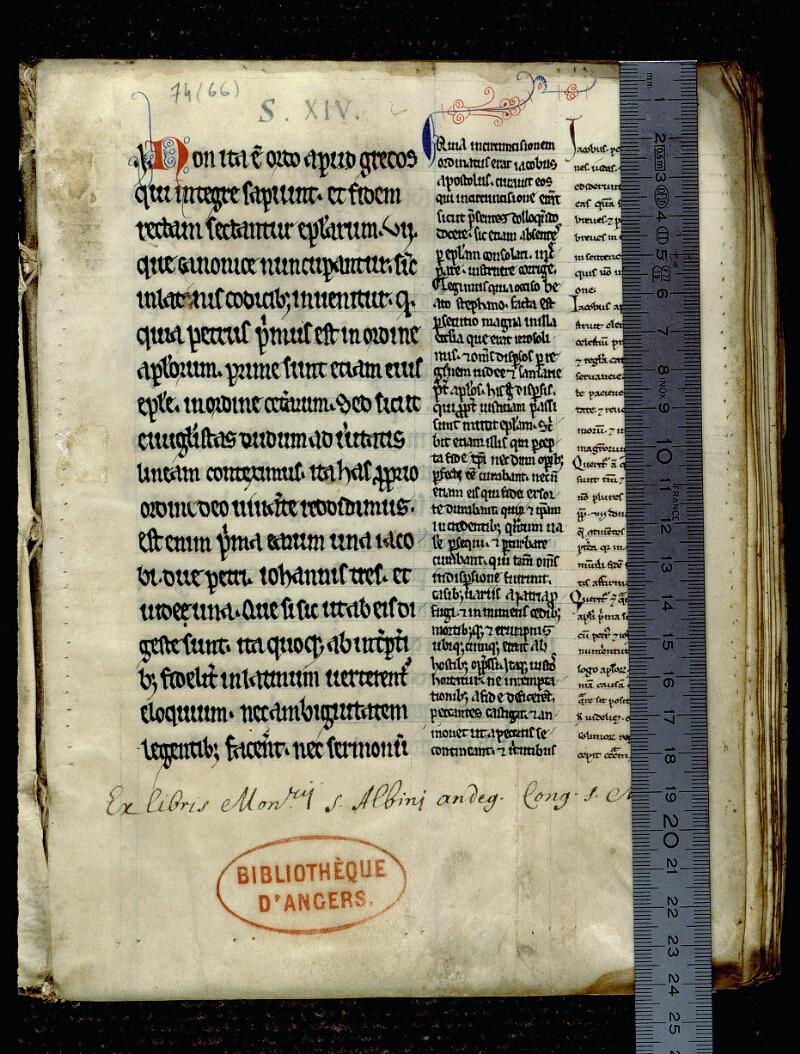 Angers, Bibl. mun., ms. 0074, f. 001 - vue 1