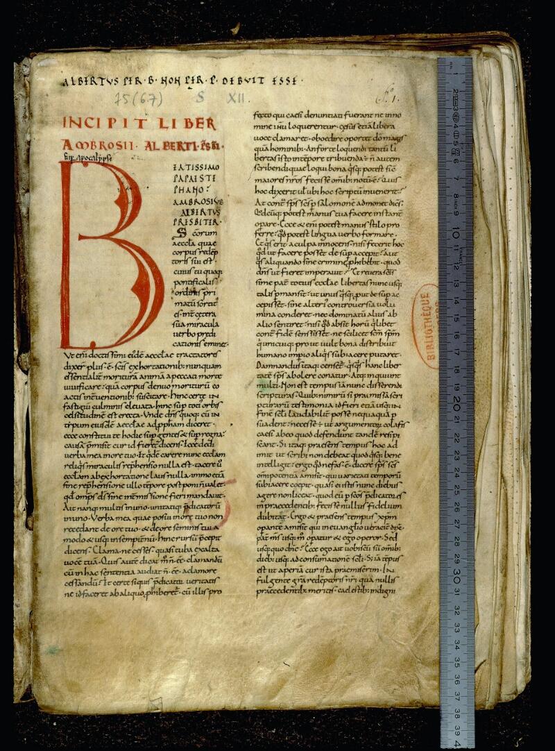 Angers, Bibl. mun., ms. 0075, f. 001 - vue 1