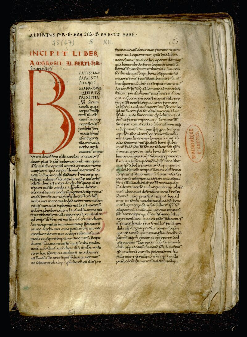 Angers, Bibl. mun., ms. 0075, f. 001 - vue 2