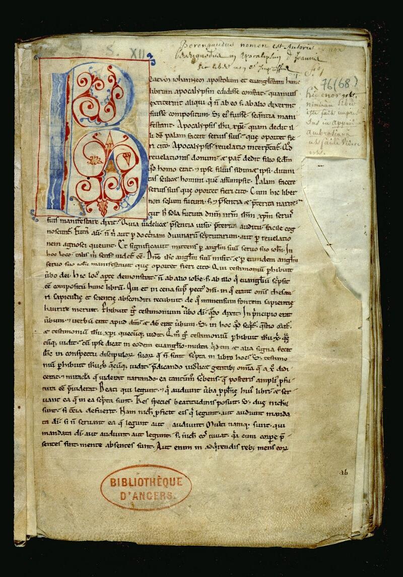 Angers, Bibl. mun., ms. 0076, f. 001 - vue 2