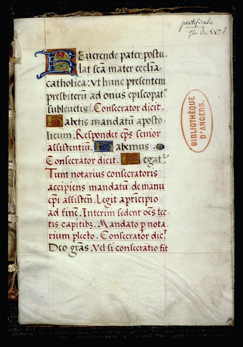 Angers, Bibl. mun., ms. 0078, f. 001 - vue 2