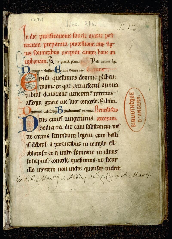 Angers, Bibl. mun., ms. 0084, f. 001 - vue 2