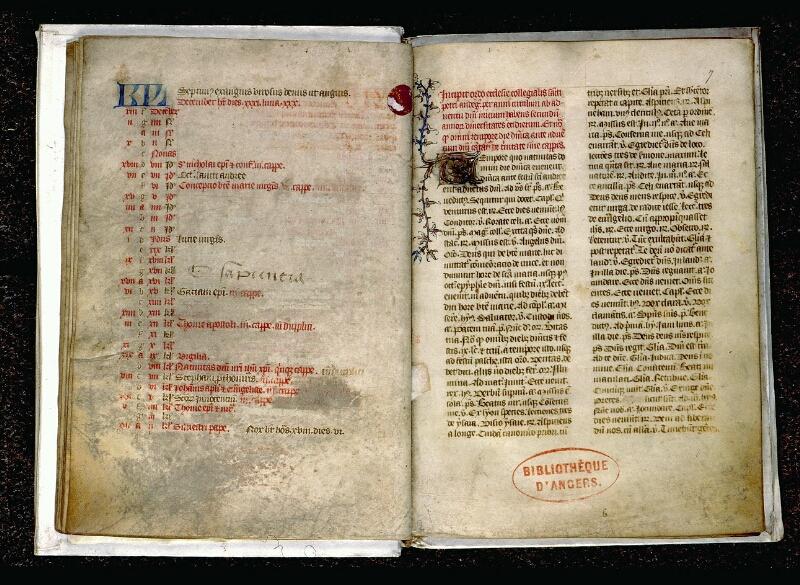 Angers, Bibl. mun., ms. 0085, f. 006v-007 - vue 2