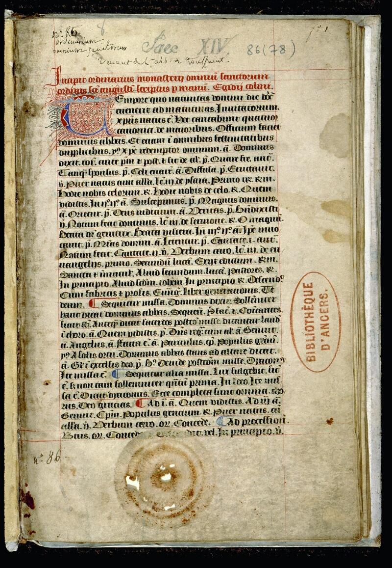 Angers, Bibl. mun., ms. 0086, f. 001 - vue 2