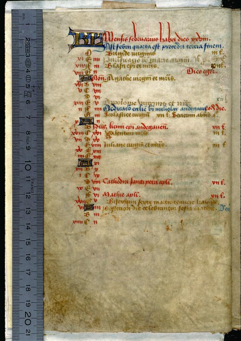 Angers, Bibl. mun., ms. 0089, f. 000I v - vue 1