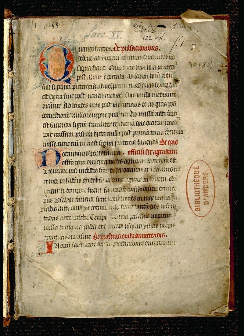 Angers, Bibl. mun., ms. 0090, f. 001 - vue 2