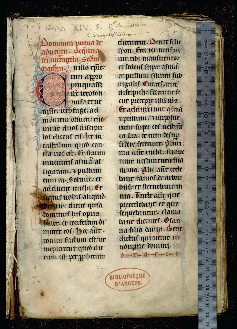 Angers, Bibl. mun., ms. 0100, f. 001 - vue 1