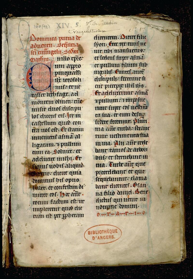 Angers, Bibl. mun., ms. 0100, f. 001 - vue 2