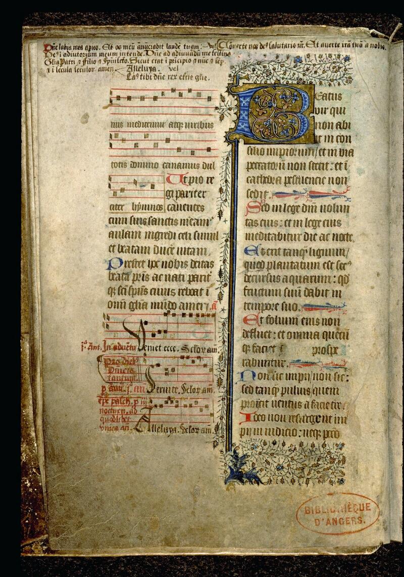 Angers, Bibl. mun., ms. 0113, f. 001v - vue 1