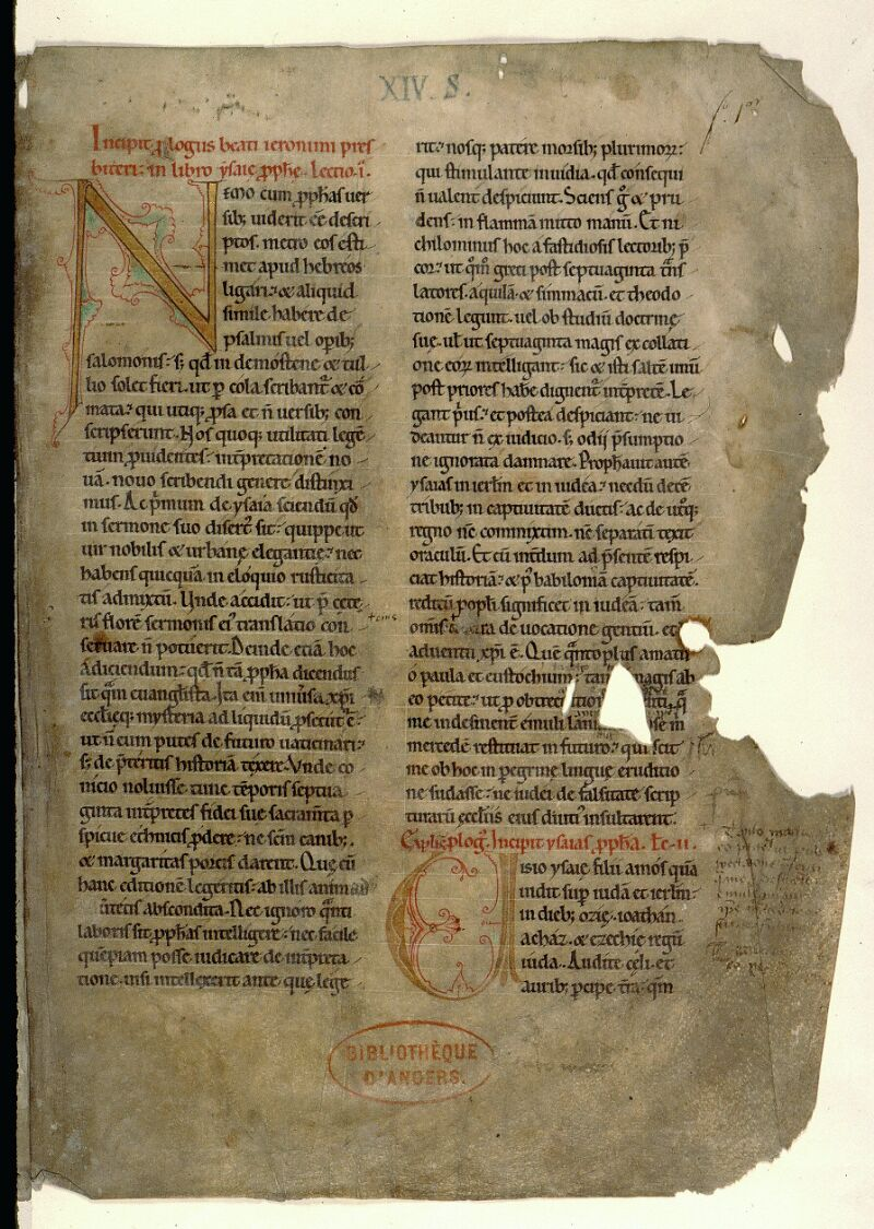 Angers, Bibl. mun., ms. 0122, f. 001 - vue 2