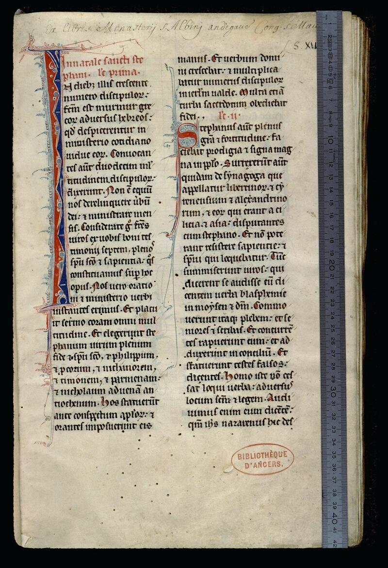 Angers, Bibl. mun., ms. 0123, f. 001 - vue 1