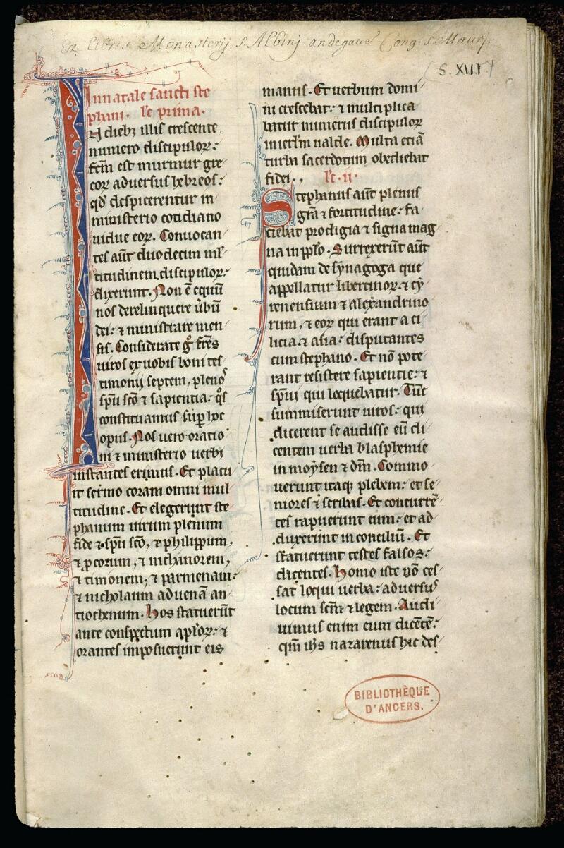 Angers, Bibl. mun., ms. 0123, f. 001 - vue 2
