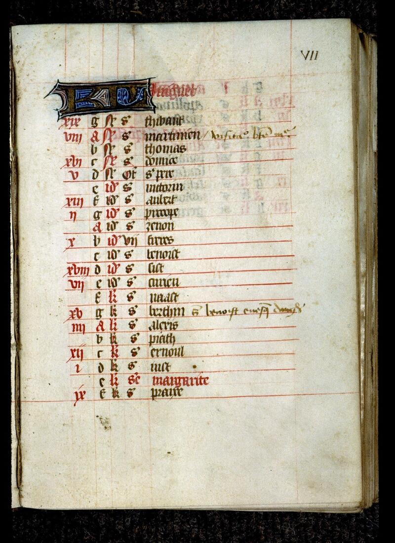 Angers, Bibl. mun., ms. 0136, f. 000VII - vue 2
