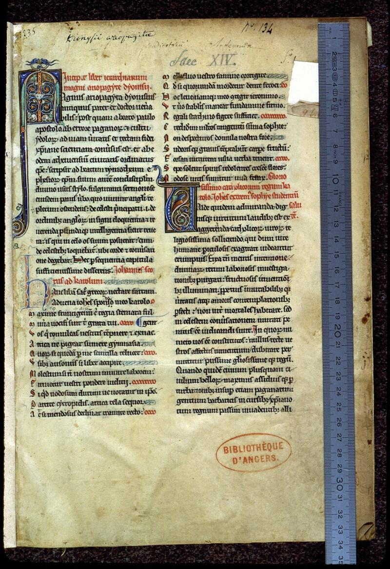 Angers, Bibl. mun., ms. 0142, f. 001 - vue 1