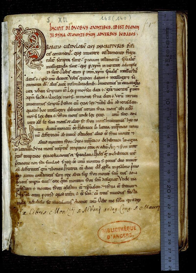Angers, Bibl. mun., ms. 0148, f. 001 - vue 1
