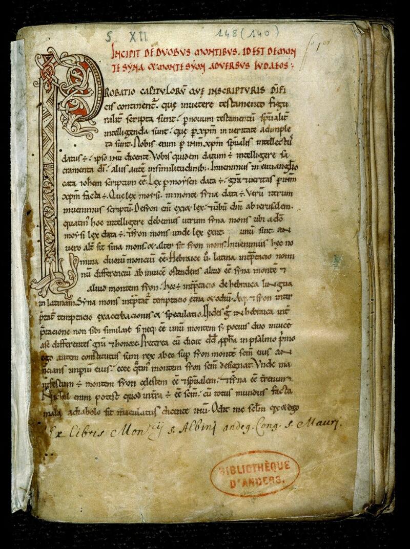 Angers, Bibl. mun., ms. 0148, f. 001 - vue 2