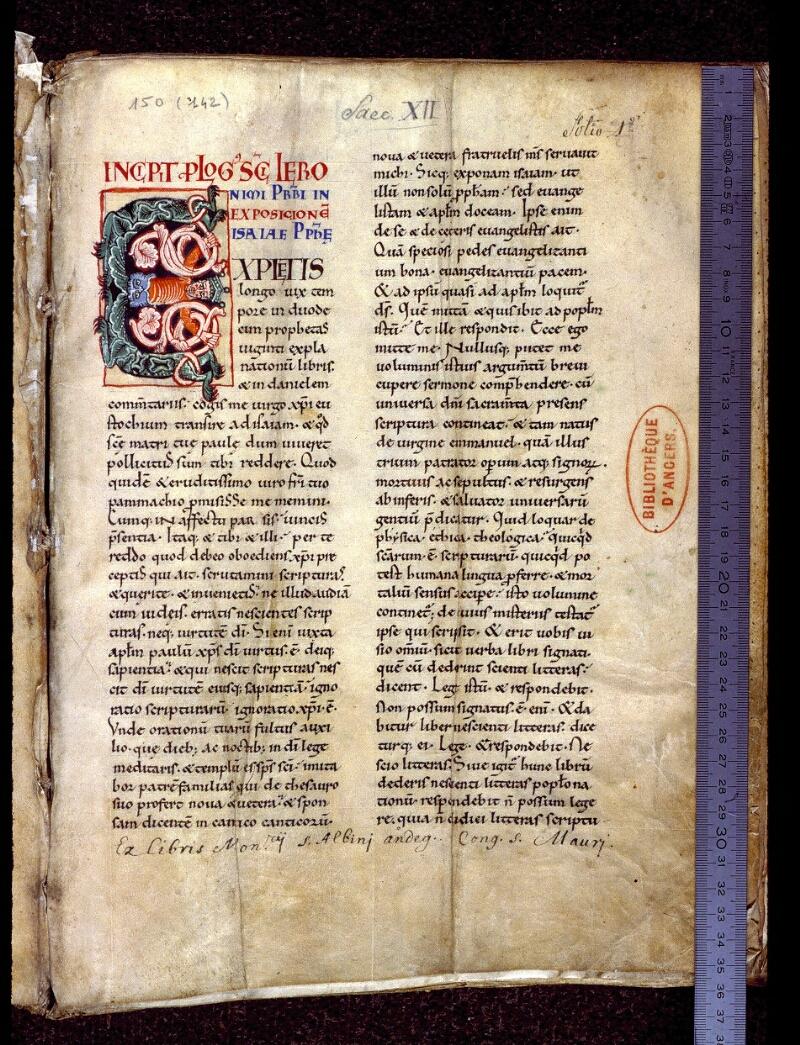 Angers, Bibl. mun., ms. 0150, f. 001 - vue 1
