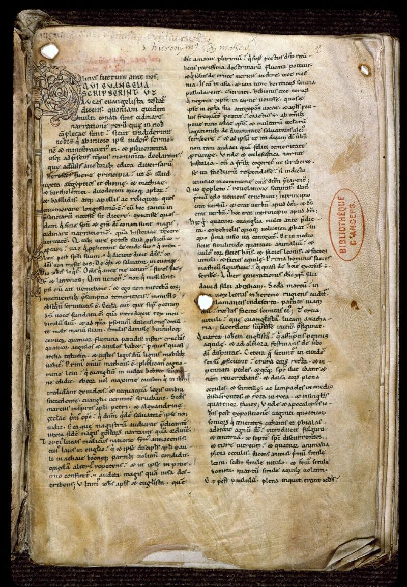 Angers, Bibl. mun., ms. 0156, f. 002 - vue 2