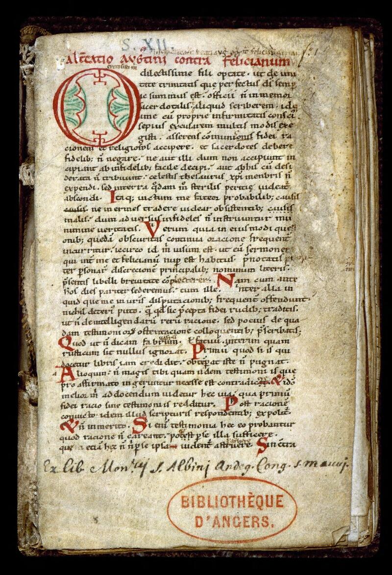Angers, Bibl. mun., ms. 0160, f. 001 - vue 2