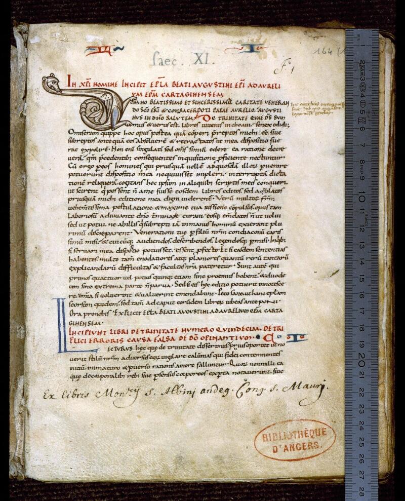 Angers, Bibl. mun., ms. 0164, f. 001 - vue 1