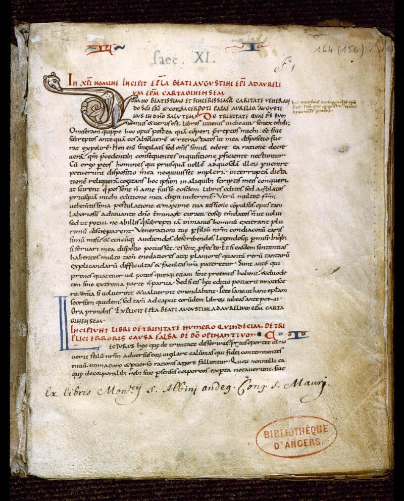 Angers, Bibl. mun., ms. 0164, f. 001 - vue 2