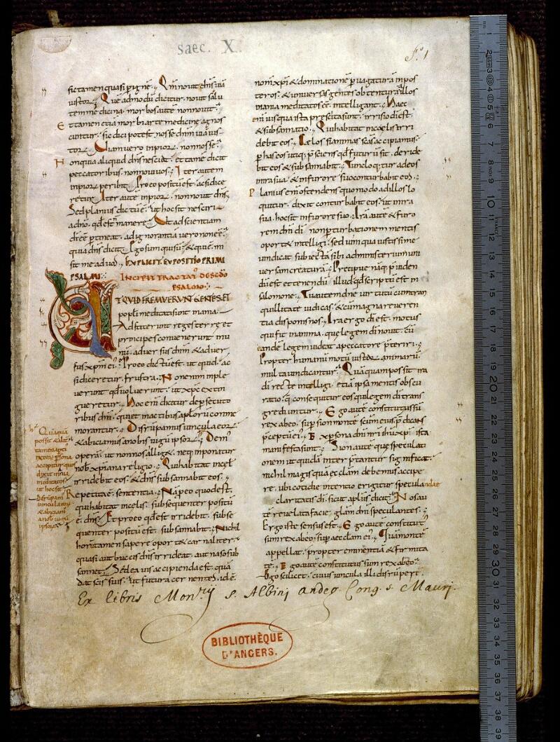 Angers, Bibl. mun., ms. 0169, f. 001 - vue 1