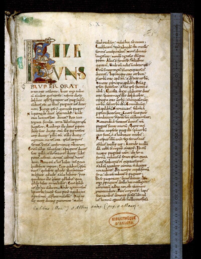 Angers, Bibl. mun., ms. 0171, f. 001 - vue 1