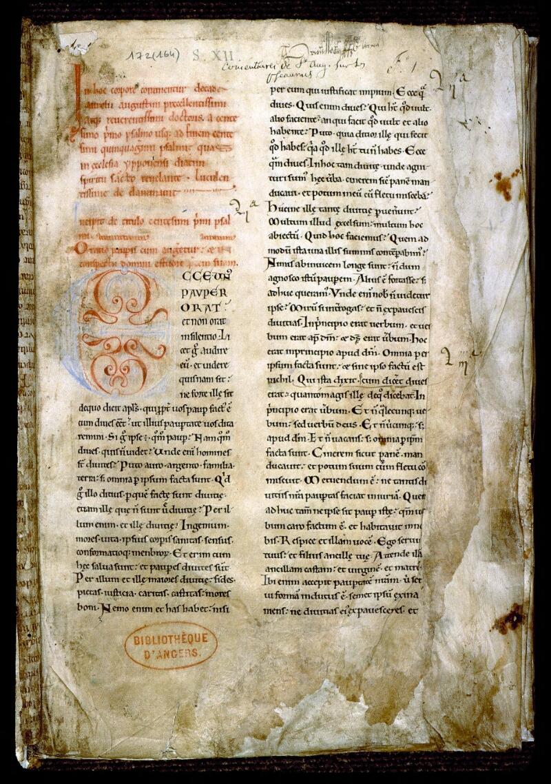 Angers, Bibl. mun., ms. 0172, f. 001 - vue 2