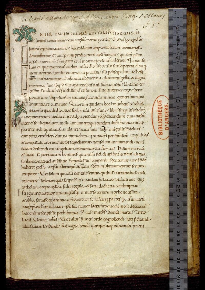 Angers, Bibl. mun., ms. 0174, f. 001 - vue 1