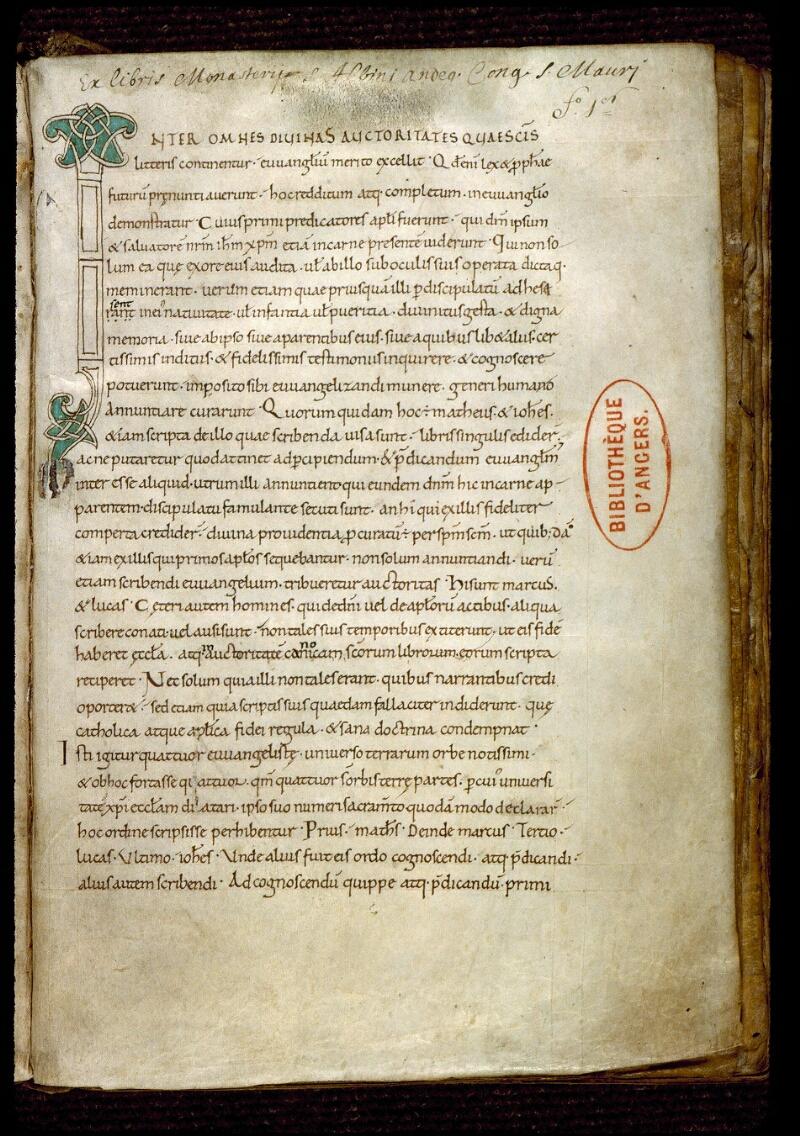 Angers, Bibl. mun., ms. 0174, f. 001 - vue 2